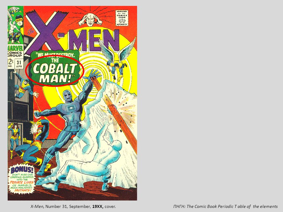 X-Men, Number 31, September, 19XX, cover.
