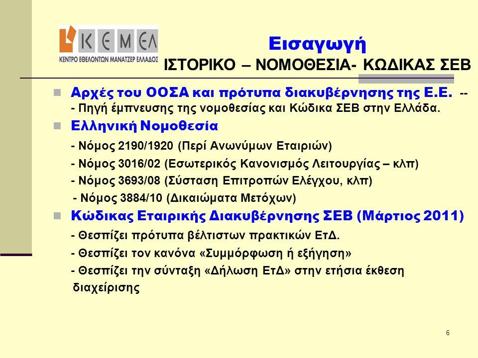 ΙΣΤΟΡΙΚΟ – ΝΟΜΟΘΕΣΙΑ- ΚΩΔΙΚΑΣ ΣΕΒ