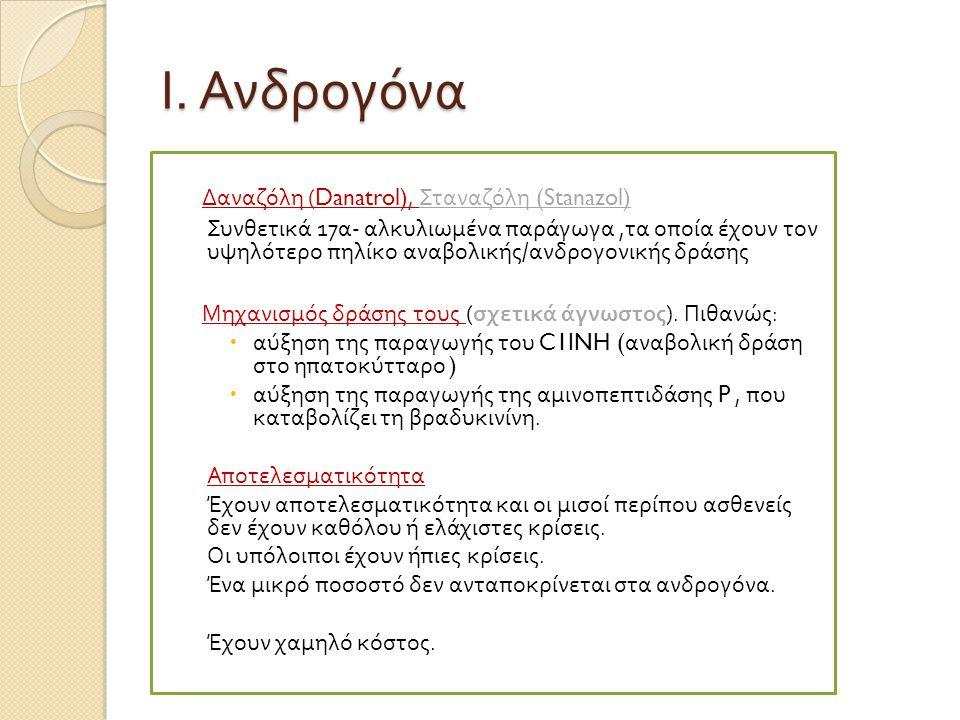 Ι. Ανδρογόνα Δαναζόλη (Danatrol), Σταναζόλη (Stanazol)
