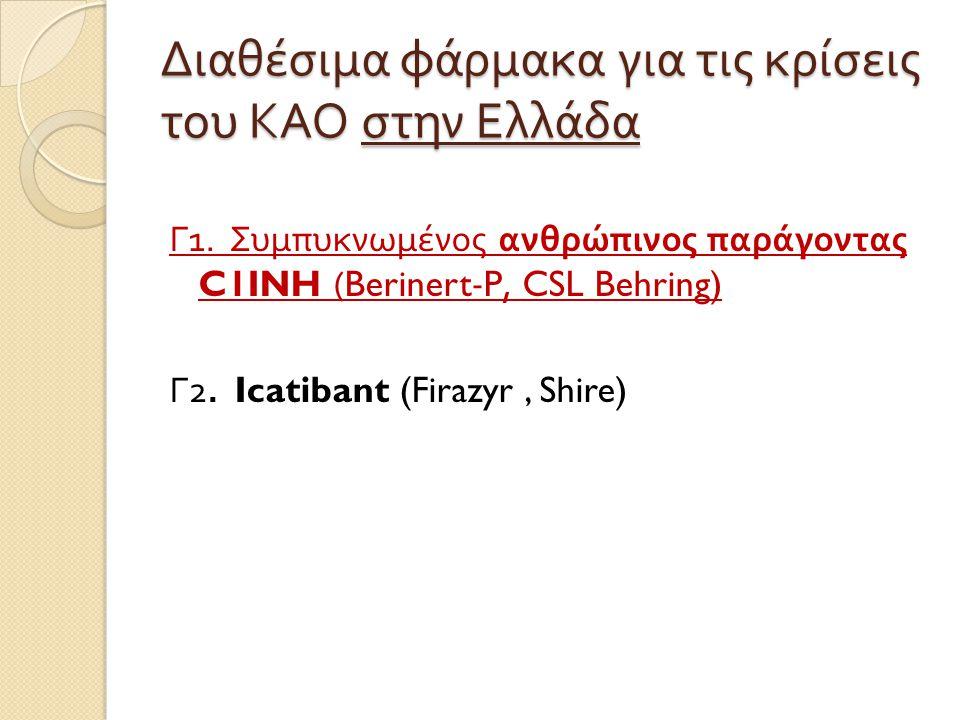 Διαθέσιμα φάρμακα για τις κρίσεις του ΚΑΟ στην Ελλάδα