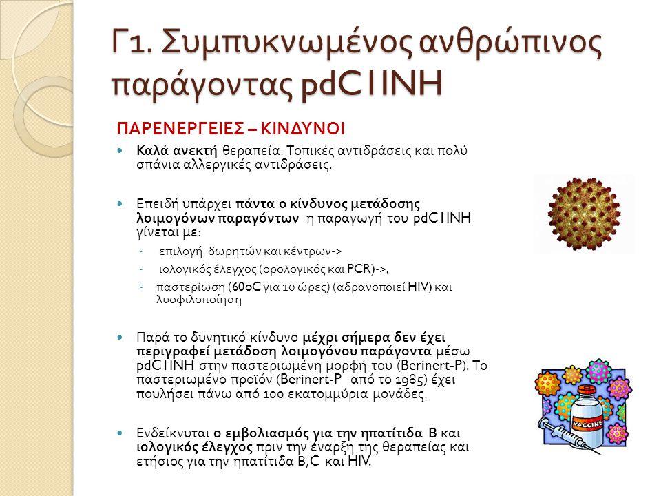 Γ1. Συμπυκνωμένος ανθρώπινος παράγοντας pdC1INH