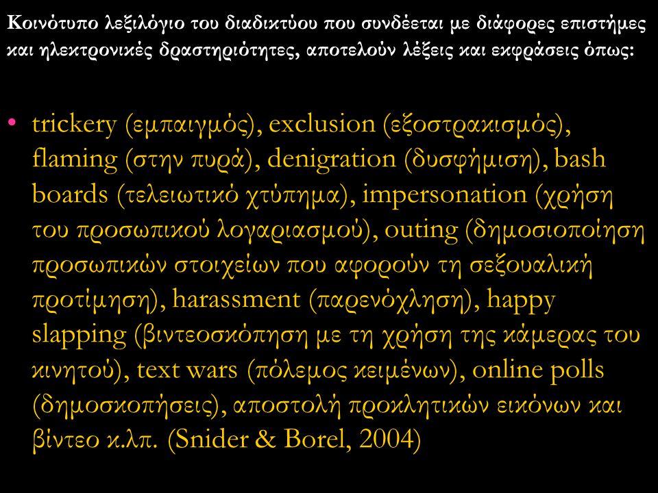 Κοινότυπο λεξιλόγιο του διαδικτύου που συνδέεται με διάφορες επιστήμες και ηλεκτρονικές δραστηριότητες, αποτελούν λέξεις και εκφράσεις όπως:
