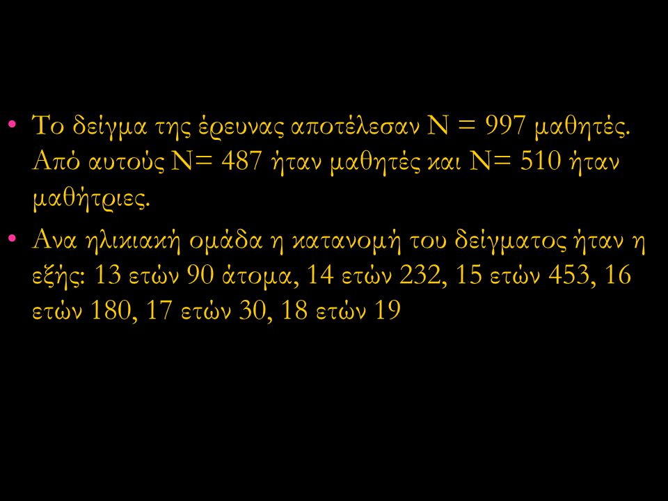 Το δείγμα της έρευνας αποτέλεσαν Ν = 997 μαθητές