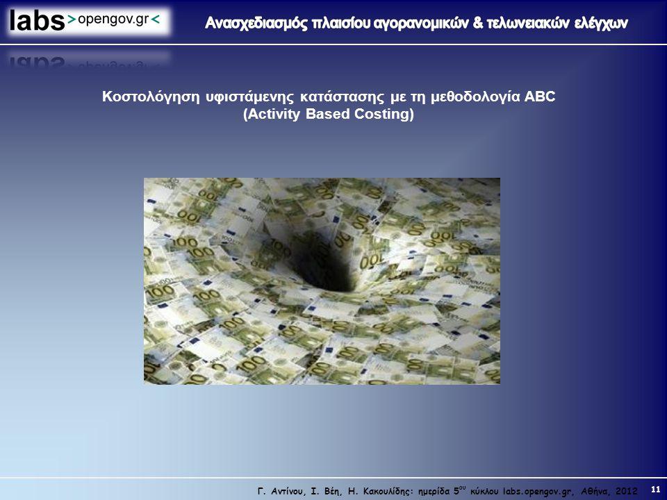 Κοστολόγηση υφιστάμενης κατάστασης με τη μεθοδολογία ABC (Activity Based Costing)