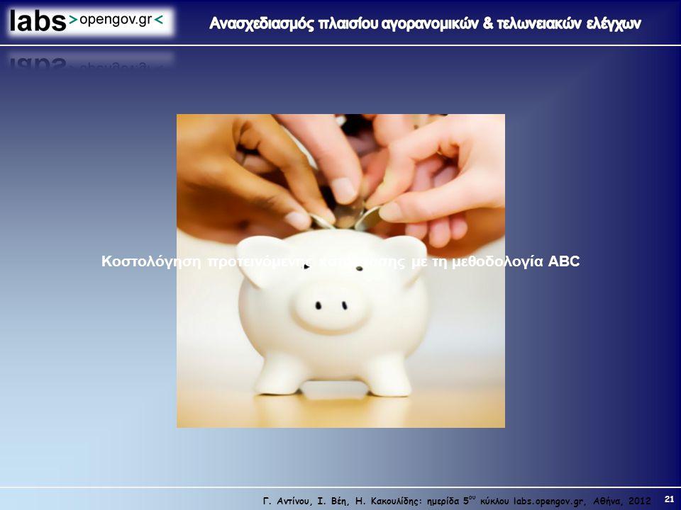 Κοστολόγηση προτεινόμενης κατάστασης με τη μεθοδολογία ABC