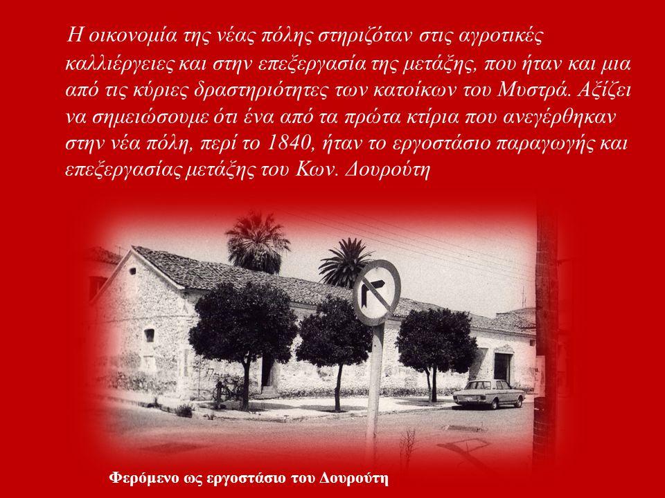 Η οικονομία της νέας πόλης στηριζόταν στις αγροτικές καλλιέργειες και στην επεξεργασία της μετάξης, που ήταν και μια από τις κύριες δραστηριότητες των κατοίκων του Μυστρά. Αξίζει να σημειώσουμε ότι ένα από τα πρώτα κτίρια που ανεγέρθηκαν στην νέα πόλη, περί το 1840, ήταν το εργοστάσιο παραγωγής και επεξεργασίας μετάξης του Κων. Δουρούτη