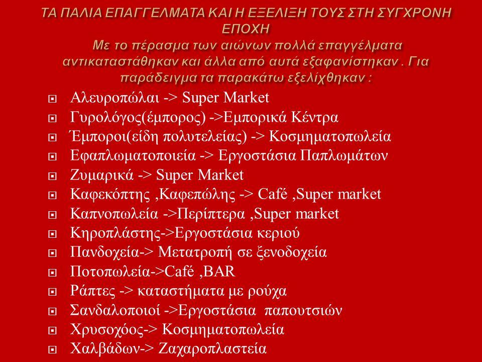 Αλευροπώλαι -> Super Market Γυρολόγος(έμπορος) ->Εμπορικά Κέντρα