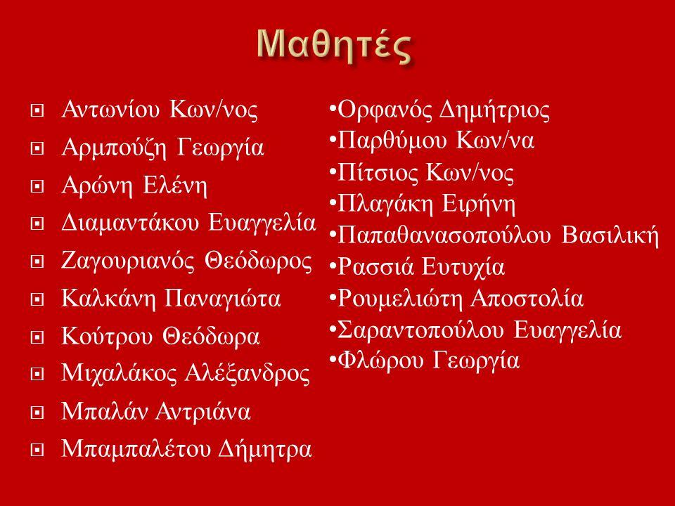 Μαθητές Αντωνίου Κων/νος Αρμπούζη Γεωργία Αρώνη Ελένη
