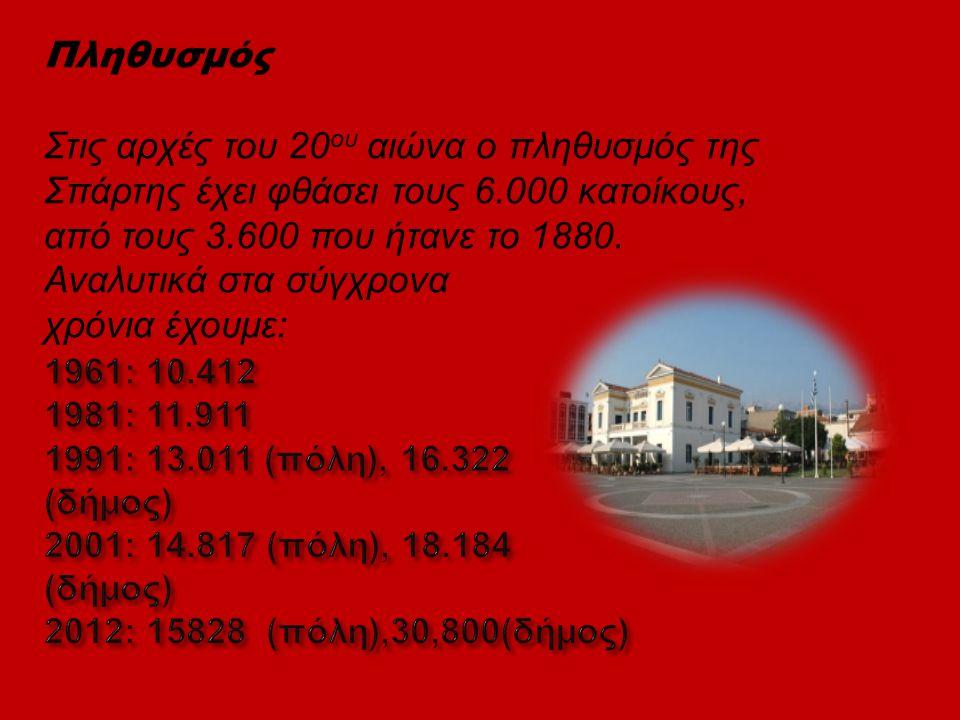 Πληθυσμός Στις αρχές του 20ου αιώνα ο πληθυσμός της Σπάρτης έχει φθάσει τους 6.000 κατοίκους, από τους 3.600 που ήτανε το 1880. Αναλυτικά στα σύγχρονα