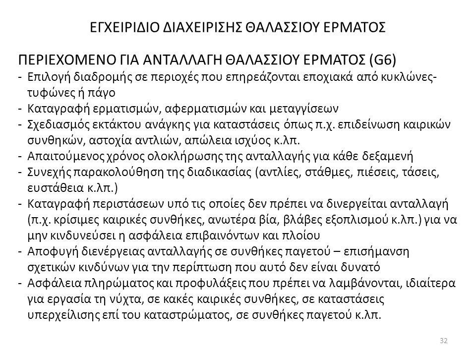 ΕΓΧΕΙΡΙΔΙΟ ΔΙΑΧΕΙΡΙΣΗΣ ΘΑΛΑΣΣΙΟΥ ΕΡΜΑΤΟΣ