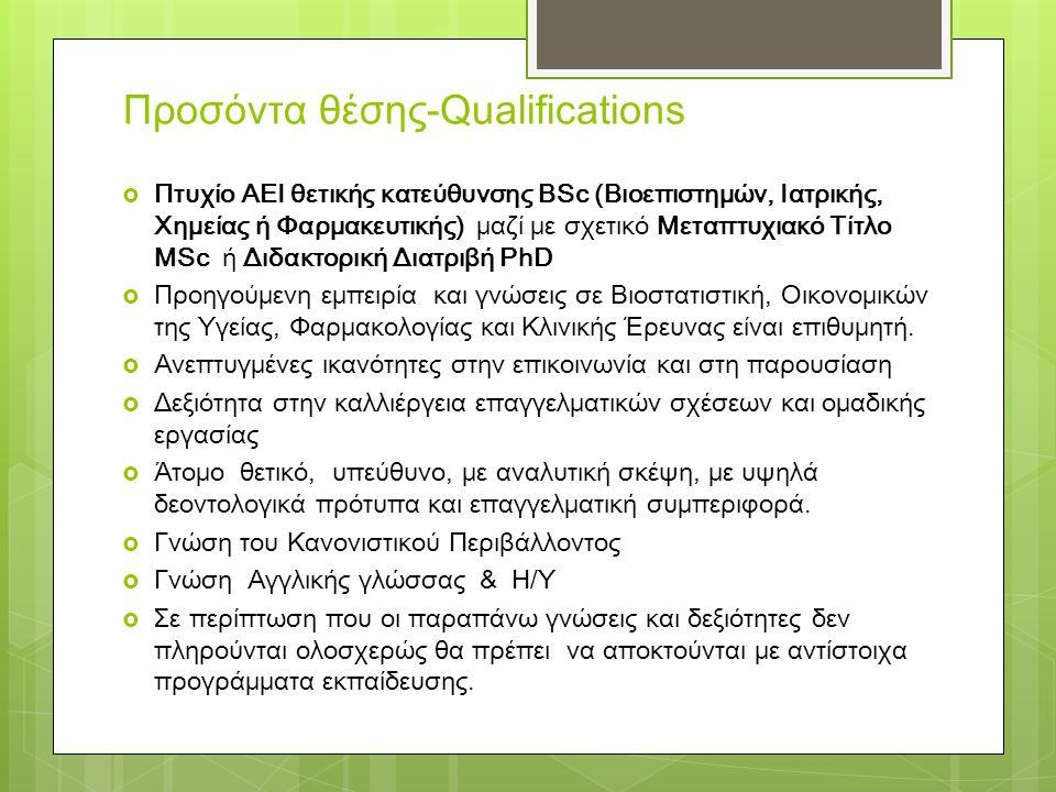 Προσόντα θέσης-Qualifications