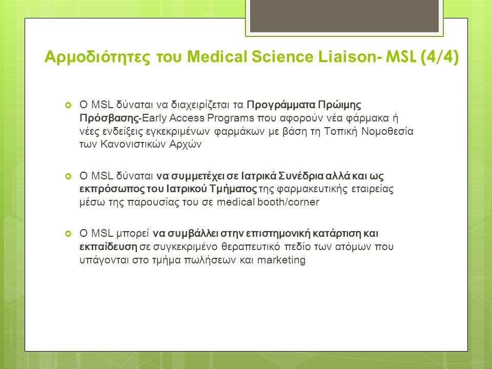 Αρμοδιότητες του Medical Science Liaison- MSL (4/4)
