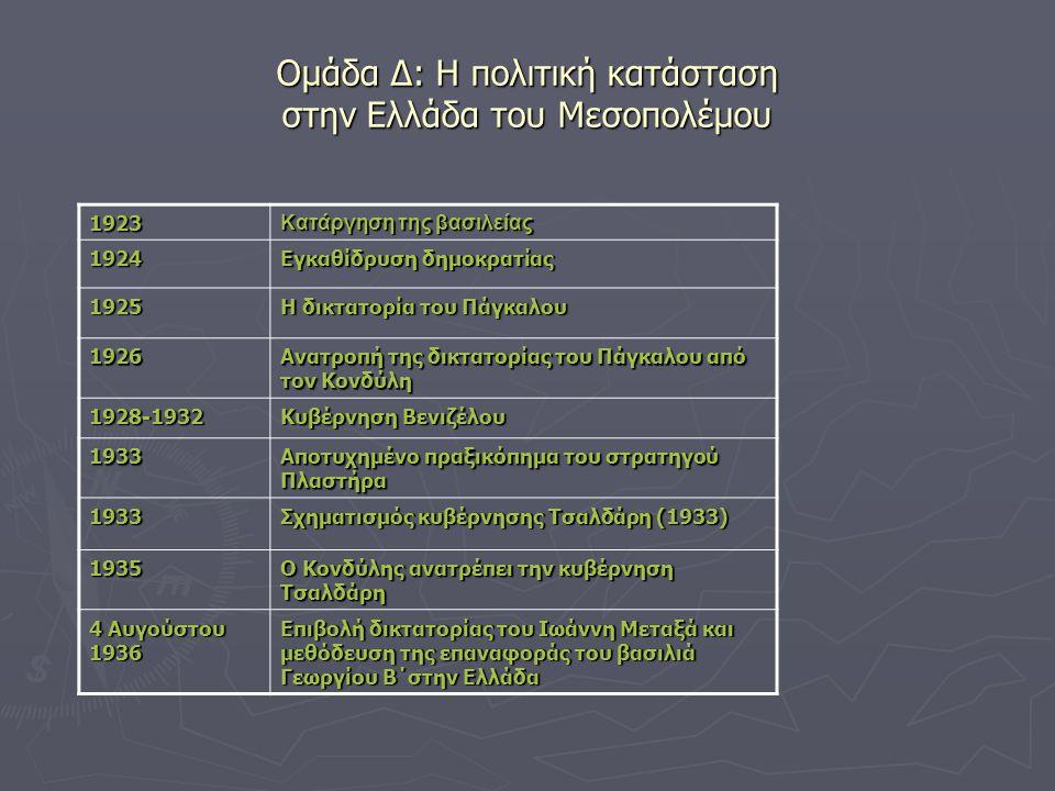 Ομάδα Δ: Η πολιτική κατάσταση στην Ελλάδα του Μεσοπολέμου