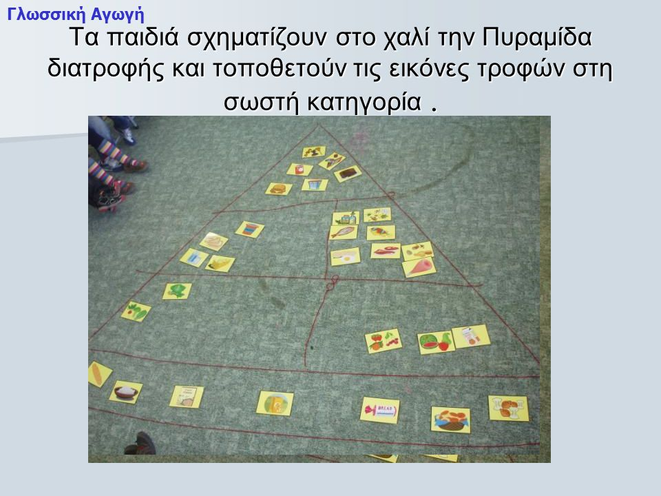 Γλωσσική Αγωγή Τα παιδιά σχηματίζουν στο χαλί την Πυραμίδα διατροφής και τοποθετούν τις εικόνες τροφών στη σωστή κατηγορία .
