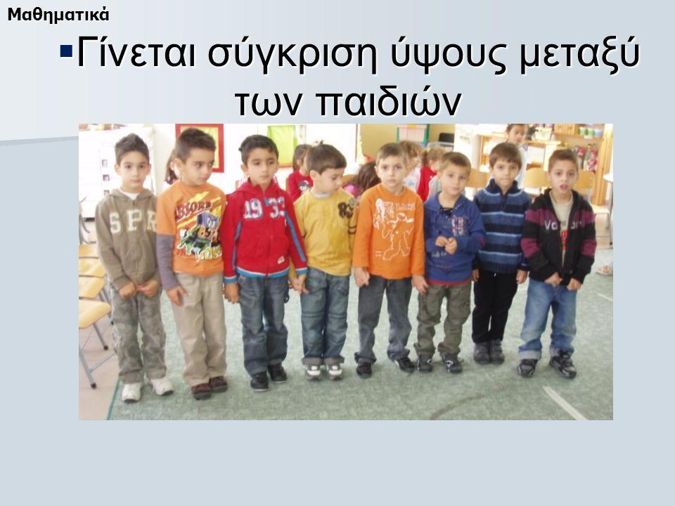 Γίνεται σύγκριση ύψους μεταξύ των παιδιών