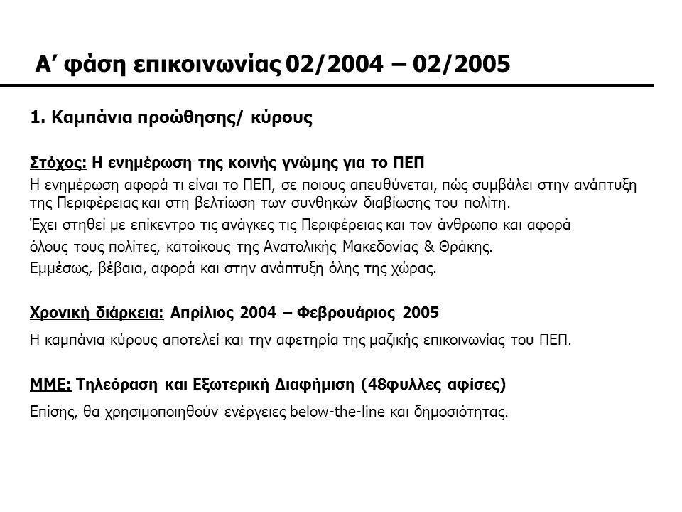Α' φάση επικοινωνίας 02/2004 – 02/2005
