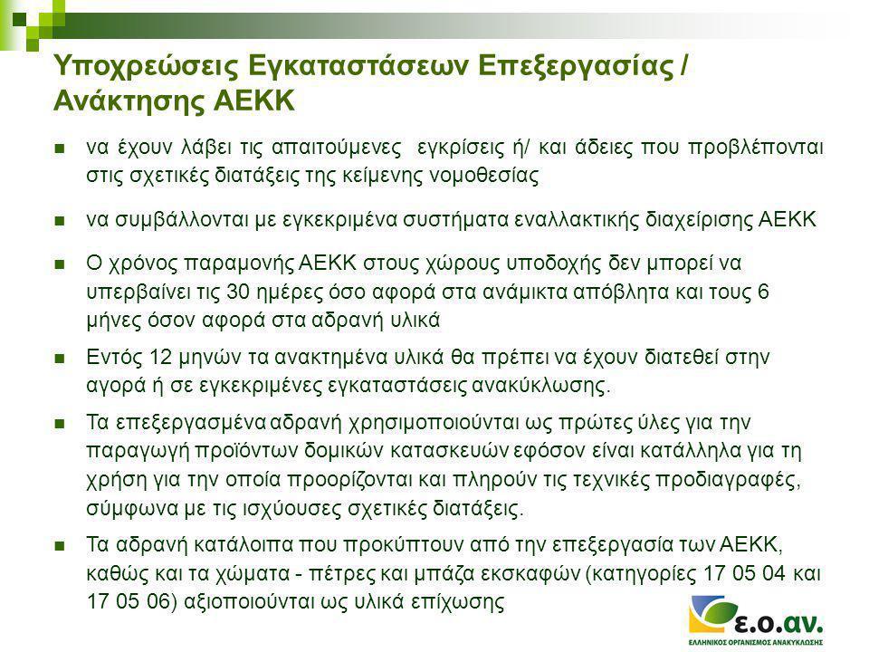 Υποχρεώσεις Εγκαταστάσεων Επεξεργασίας / Ανάκτησης ΑΕΚΚ