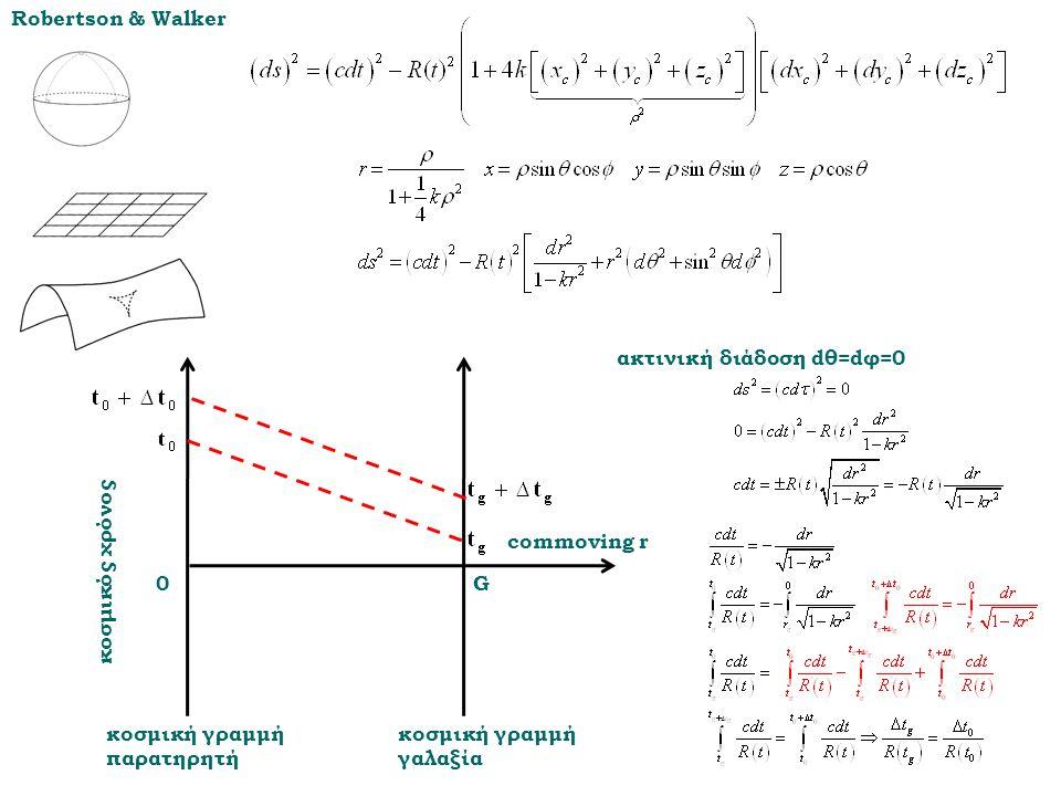 Robertson & Walker ακτινική διάδοση dθ=dφ=0. G. commoving r. κοσμική γραμμή παρατηρητή. κοσμική γραμμή γαλαξία.