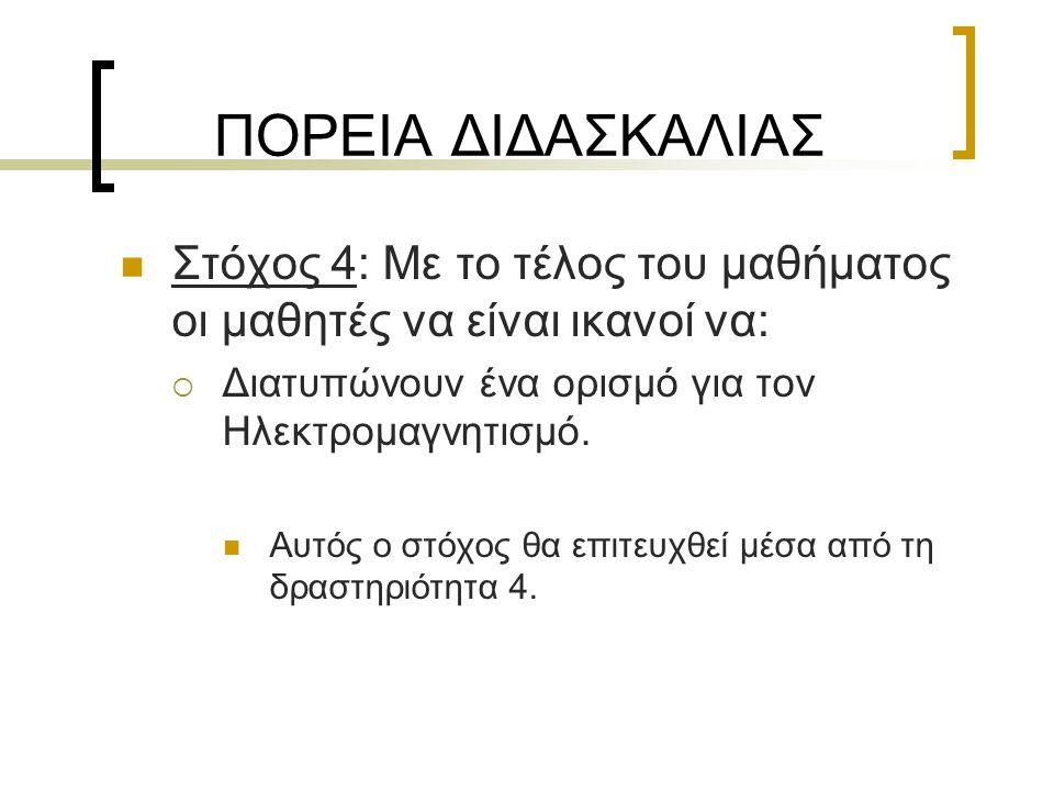 ΠΟΡΕΙΑ ΔΙΔΑΣΚΑΛΙΑΣ Στόχος 4: Με το τέλος του μαθήματος οι μαθητές να είναι ικανοί να: Διατυπώνουν ένα ορισμό για τον Ηλεκτρομαγνητισμό.