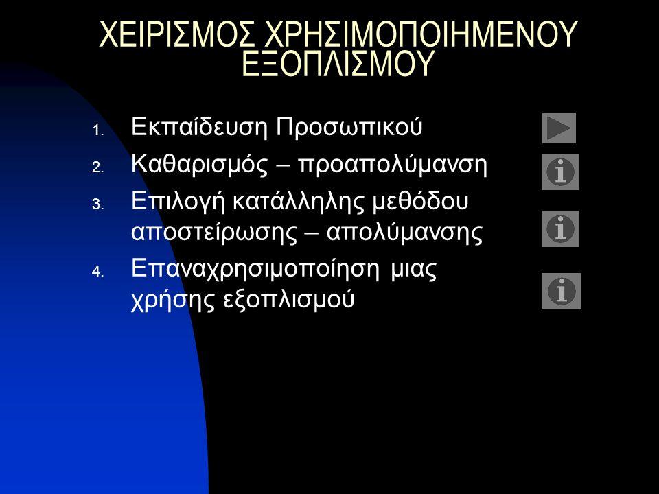 ΧΕΙΡΙΣΜΟΣ ΧΡΗΣΙΜΟΠΟΙΗΜΕΝΟΥ ΕΞΟΠΛΙΣΜΟΥ