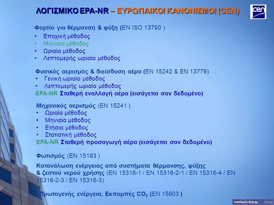 ΛΟΓΙΣΜΙΚΟ EPA-NR – ΕΥΡΩΠΑΙΚΟΙ ΚΑΝΟΝΙΣΜΟΙ (CEN)