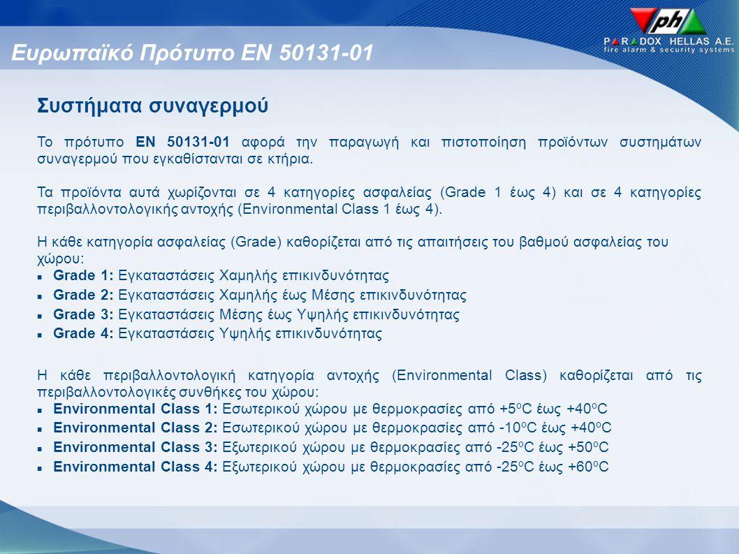 Ευρωπαϊκό Πρότυπο ΕΝ 50131-01 Συστήματα συναγερμού