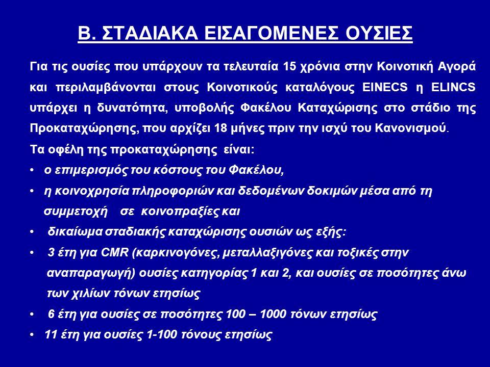 Β. ΣΤΑΔΙΑΚΑ ΕΙΣΑΓΟΜΕΝΕΣ ΟΥΣΙΕΣ