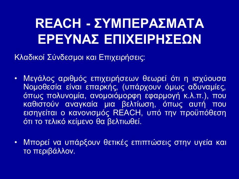 REACH - ΣΥΜΠΕΡΑΣΜΑΤΑ EΡΕΥΝΑΣ ΕΠΙΧΕΙΡΗΣΕΩΝ