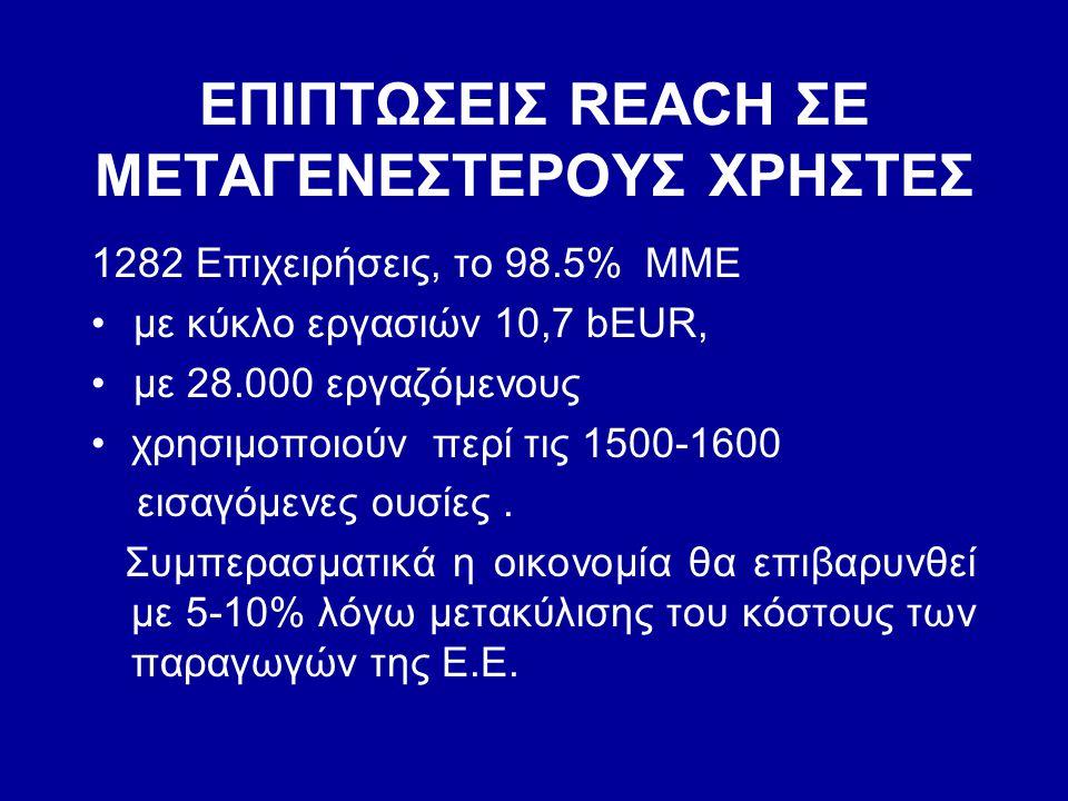 ΕΠΙΠΤΩΣΕΙΣ REACH ΣΕ ΜΕΤΑΓΕΝΕΣΤΕΡΟΥΣ ΧΡΗΣΤΕΣ