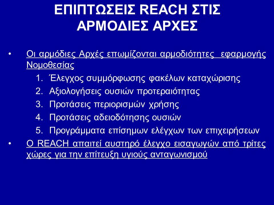 ΕΠΙΠΤΩΣΕΙΣ REACH ΣΤΙΣ ΑΡΜΟΔΙΕΣ ΑΡΧΕΣ