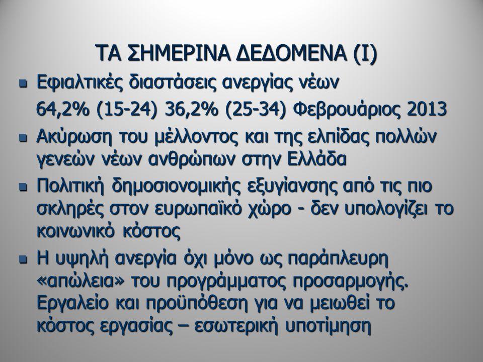 ΤΑ ΣΗΜΕΡΙΝΑ ΔΕΔΟΜΕΝΑ (Ι)