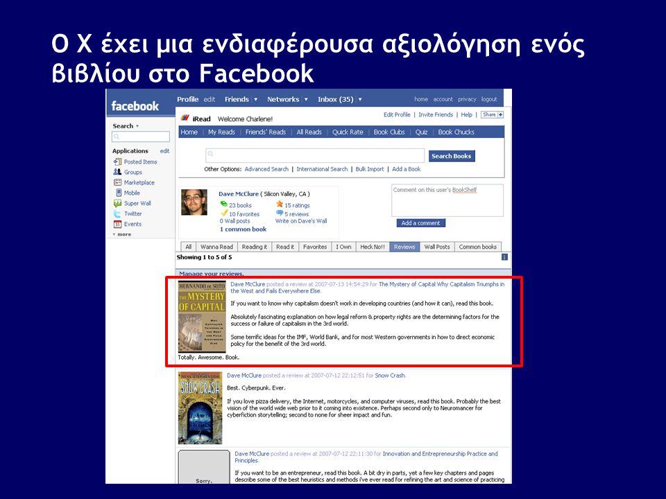 Ο X έχει μια ενδιαφέρουσα αξιολόγηση ενός βιβλίου στο Facebook