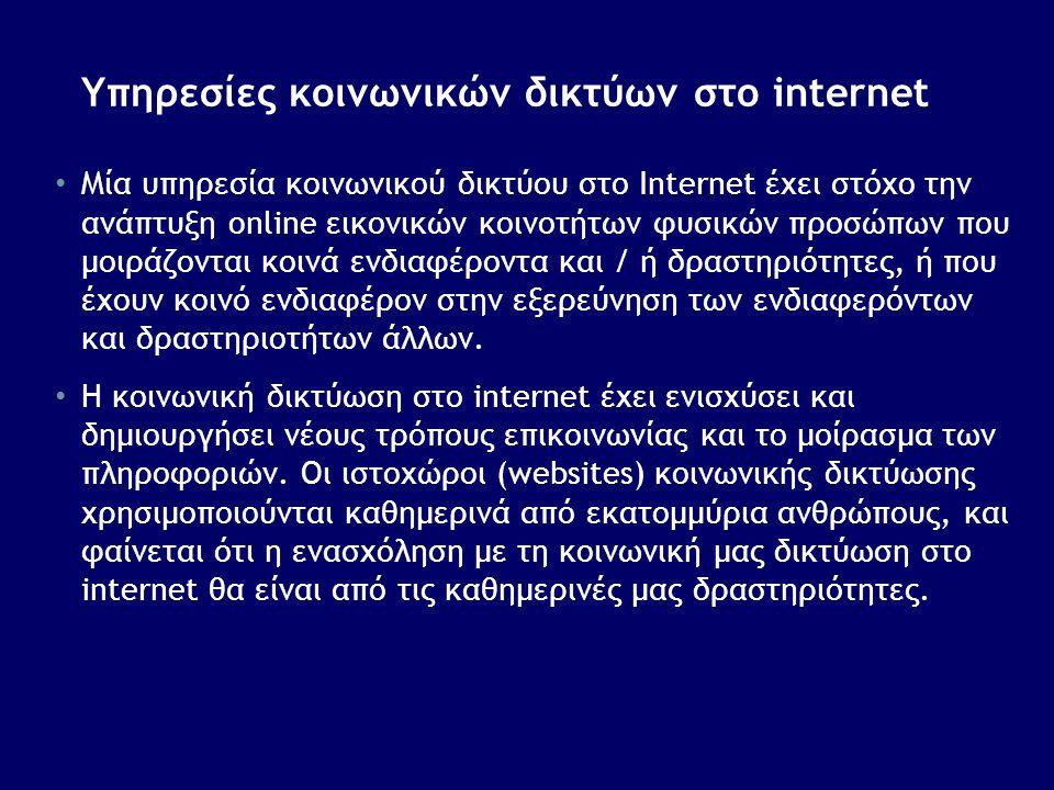Υπηρεσίες κοινωνικών δικτύων στο internet