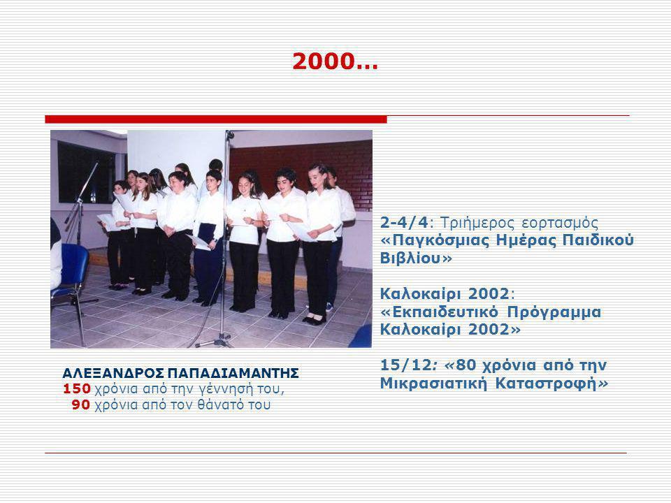 2000… 2-4/4: Τριήμερος εορτασμός «Παγκόσμιας Ημέρας Παιδικού Βιβλίου»