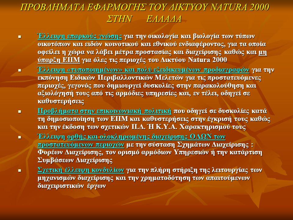 ΠΡΟΒΛΗΜΑΤΑ ΕΦΑΡΜΟΓΗΣ ΤΟΥ ΔΙΚΤΥΟΥ NATURA 2000 ΣΤΗΝ ΕΛΛΑΔΑ