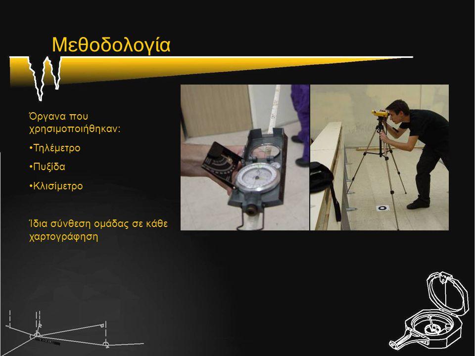 Μεθοδολογία Όργανα που χρησιμοποιήθηκαν: Τηλέμετρο Πυξίδα Κλισίμετρο