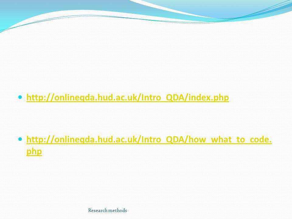http://onlineqda.hud.ac.uk/Intro_QDA/index.php http://onlineqda.hud.ac.uk/Intro_QDA/how_what_to_code.php.