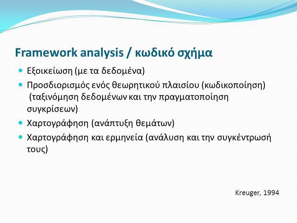 Framework analysis / κωδικό σχήμα