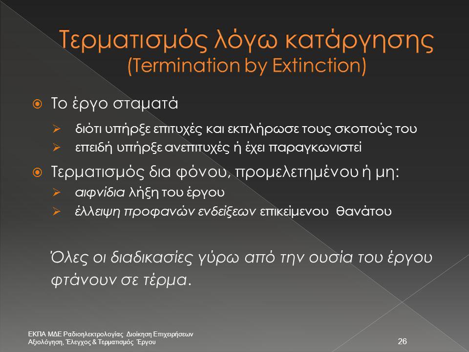 Τερματισμός λόγω κατάργησης (Termination by Extinction)