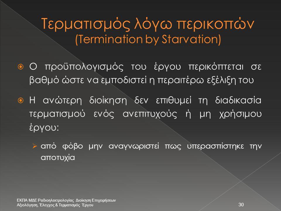 Τερματισμός λόγω περικοπών (Termination by Starvation)