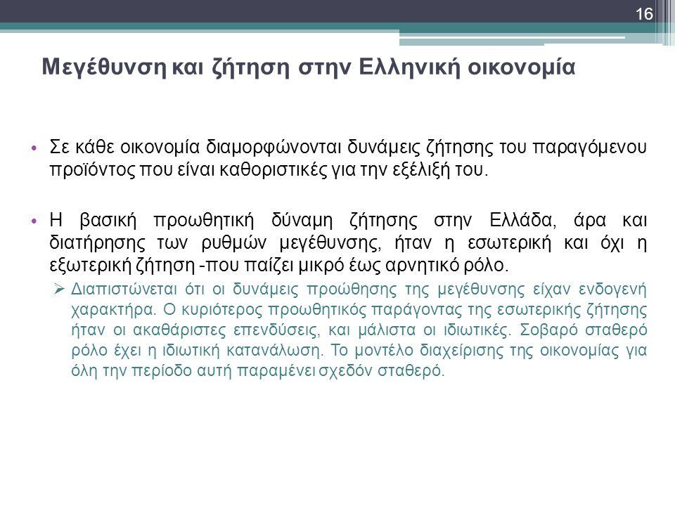 Μεγέθυνση και ζήτηση στην Ελληνική οικονομία
