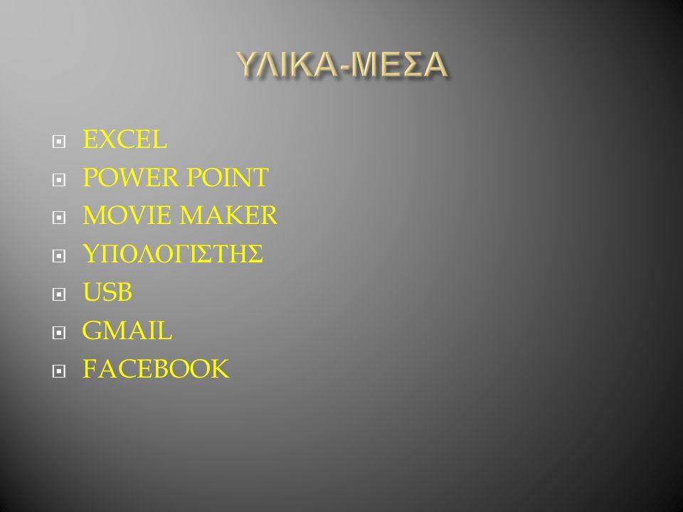 ΥΛΙΚΑ-ΜΕΣΑ EXCEL POWER POINT MOVIE MAKER YΠΟΛΟΓΙΣΤΗΣ USB GMAIL