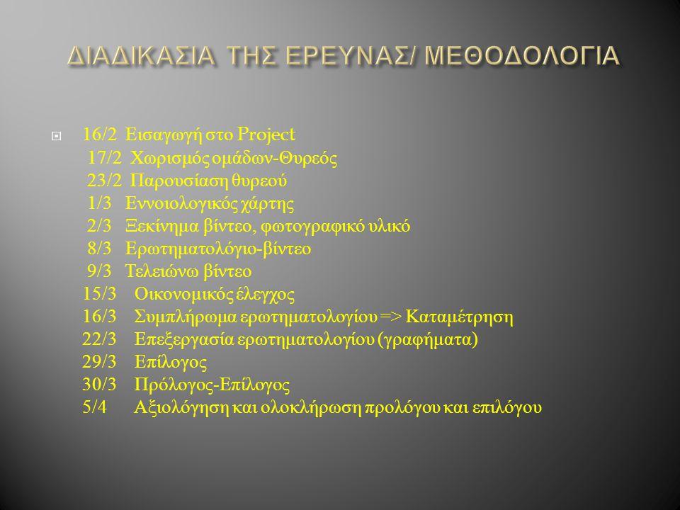 ΔΙΑΔΙΚΑΣΙΑ ΤΗΣ ΕΡΕΥΝΑΣ/ ΜΕΘΟΔΟΛΟΓΙΑ
