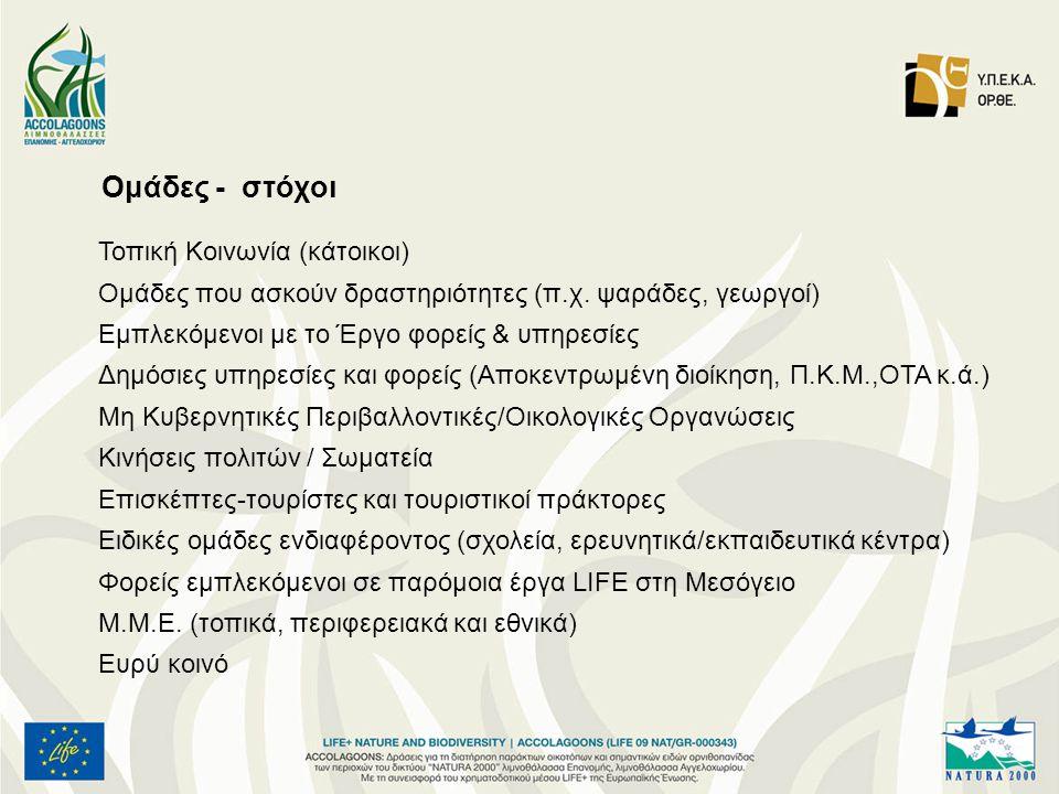 Ομάδες - στόχοι Τοπική Κοινωνία (κάτοικοι)