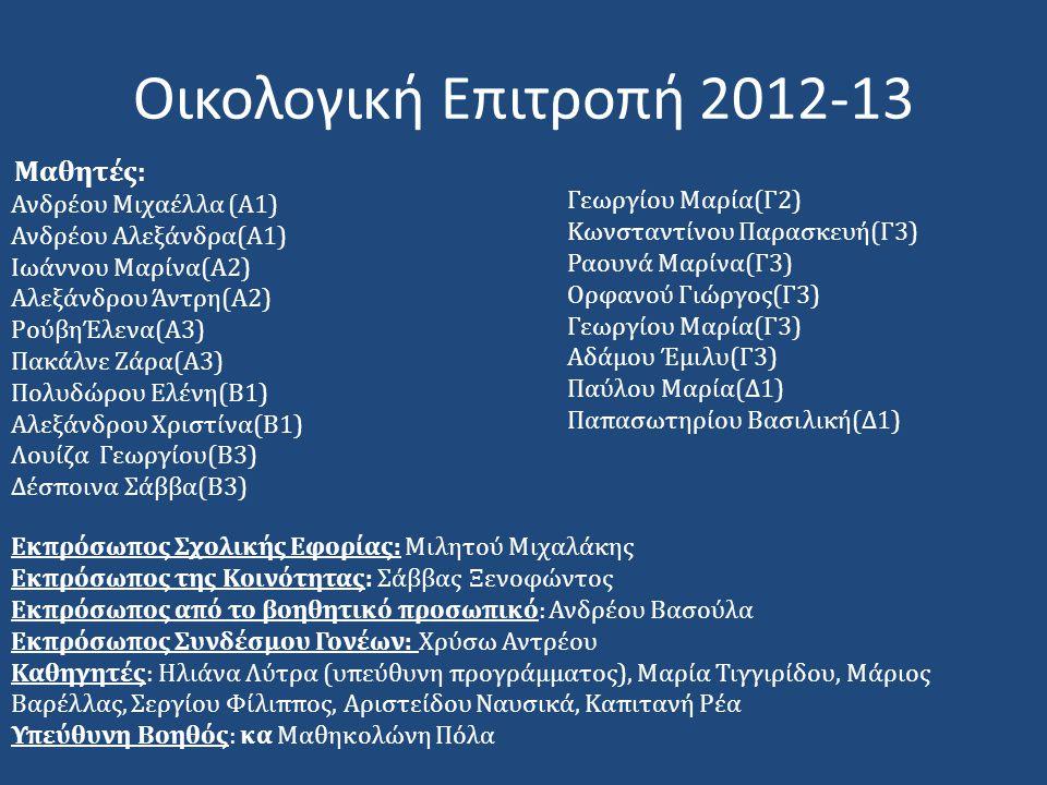 Οικολογική Επιτροπή 2012-13 Ανδρέου Μιχαέλλα (Α1) Γεωργίου Μαρία(Γ2)