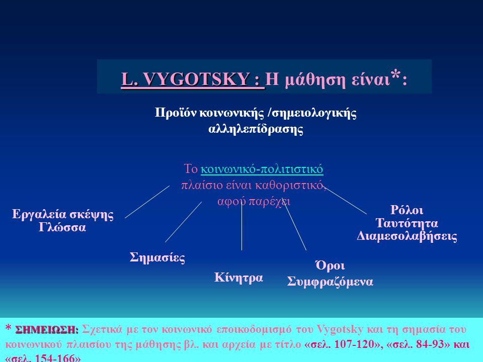 L. VYGOTSKY : Η μάθηση είναι*: