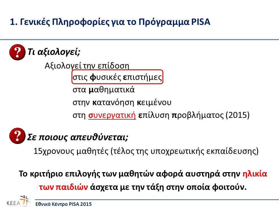 1. Γενικές Πληροφορίες για το Πρόγραμμα PISA