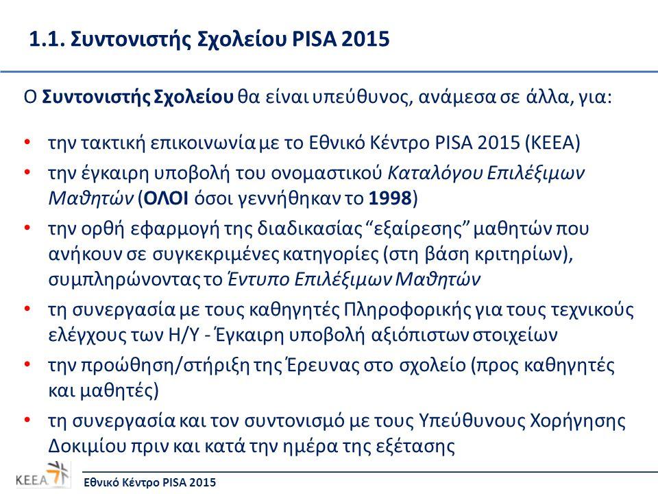 1.1. Συντονιστής Σχολείου PISA 2015