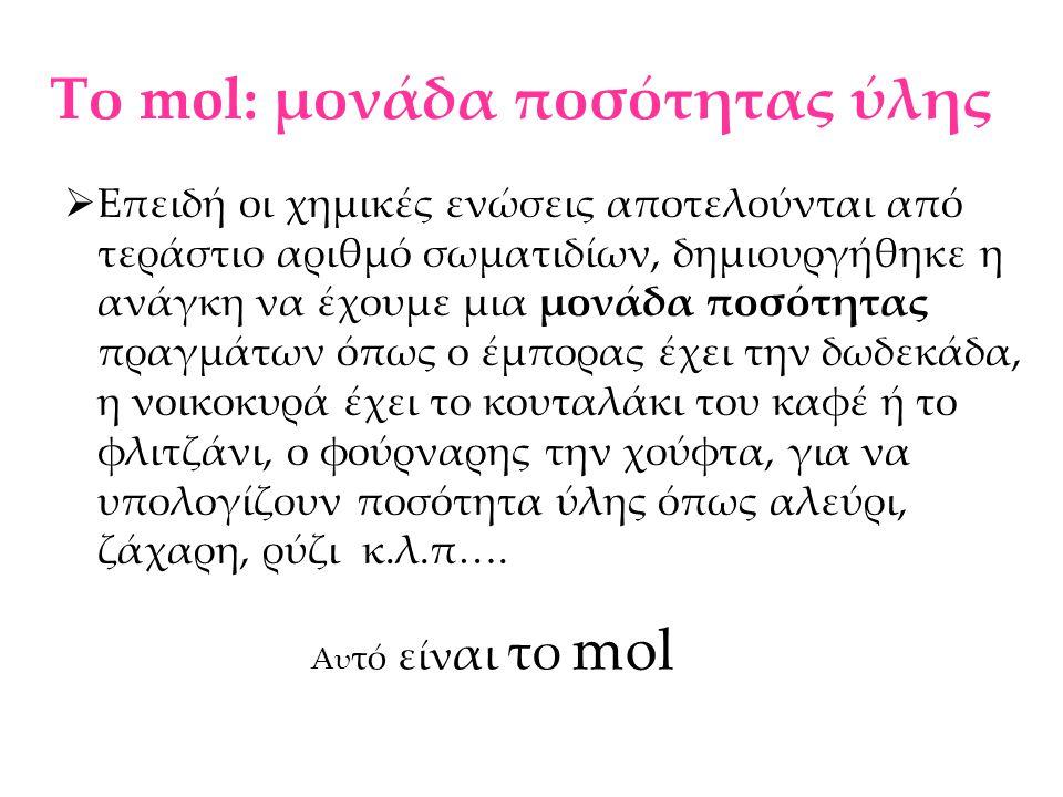 Το mol: μονάδα ποσότητας ύλης