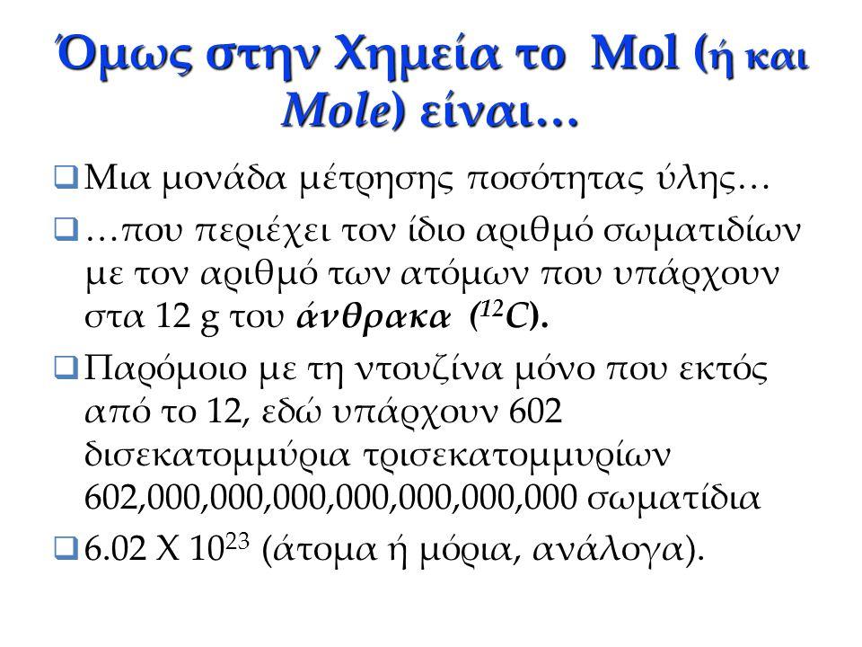 Όμως στην Χημεία τo Mol (ή και Mole) είναι…